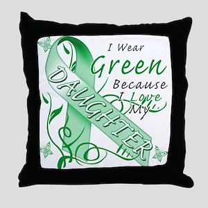 I Wear Green I Love My Daught Throw Pillow