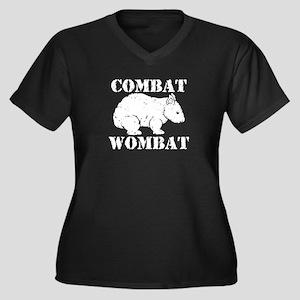 Combat Wombat Women's Plus Size V-Neck Dark T-Shir
