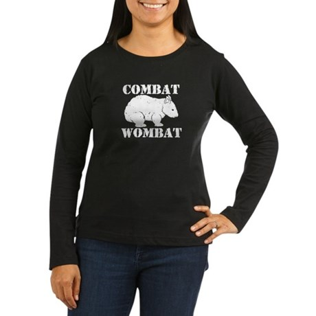 Combat Wombat Women's Long Sleeve Dark T-Shirt