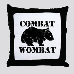 Combat Wombat Throw Pillow
