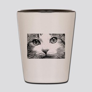 Sweet cat face pencil sketch drawing Shot Glass