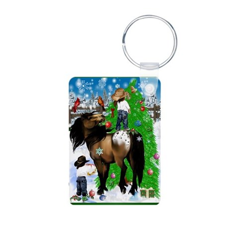 A Horse and Kid Christmas Aluminum Photo Keychain