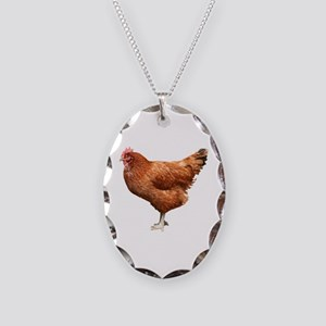 Red Hen Necklace Oval Charm