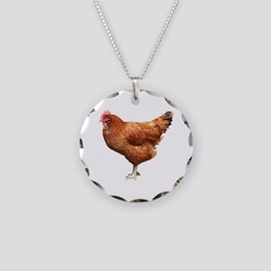 Red Hen Necklace Circle Charm