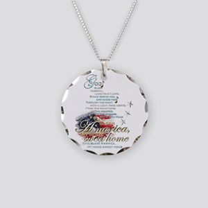 God bless America: Necklace Circle Charm