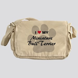 I Love My Mini Bull Terrier Messenger Bag