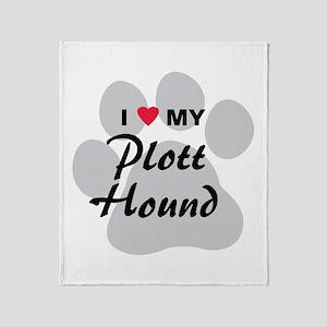 I Love My Plott Hound Throw Blanket