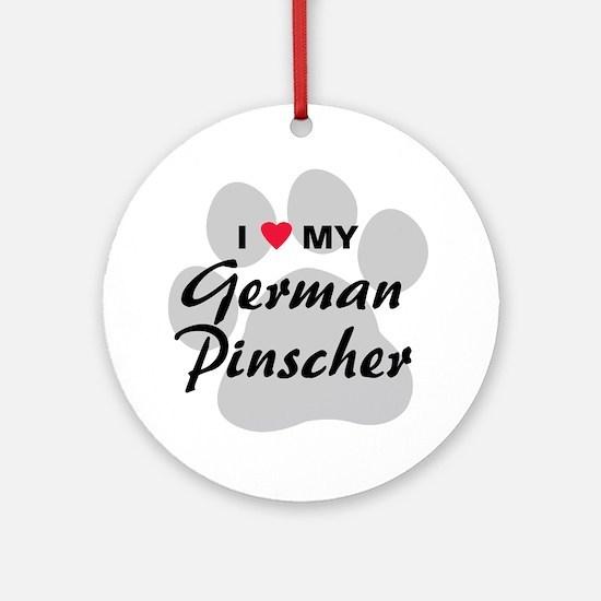 I Love My German Pinscher Ornament (Round)