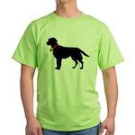 Labrador Retriever Silhouette Green T-Shirt
