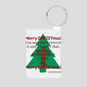 Respect CHRISTmas Aluminum Photo Keychain