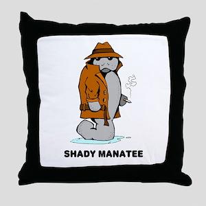 Shady Manatee Throw Pillow