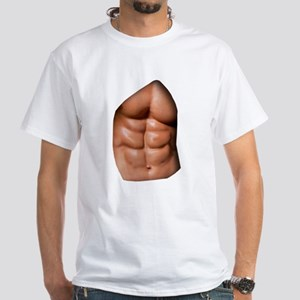 Ripped Abs White T-Shirt