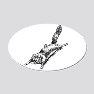 Flying Squirrel Illustration 22x14 Oval Wall Peel