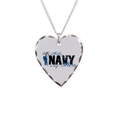 Mother Hero3 - Navy Necklace Heart Charm