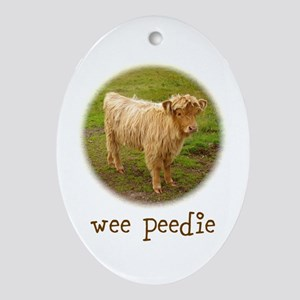 Wee Peedie (Baby Highland Cow) Ornament (Oval)