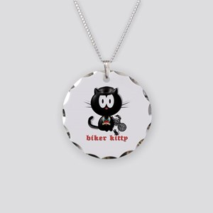 biker kitty Necklace Circle Charm