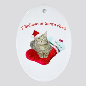 I Believe in Santa Paws Ornament (Oval)