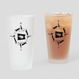 Nantucket MA - Compass Design Drinking Glass