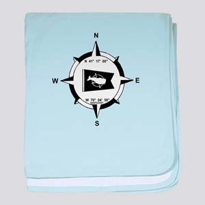 Nantucket MA - Compass Design baby blanket