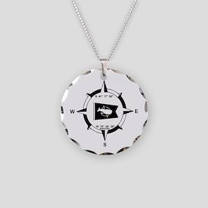 Nantucket MA - Compass Design Necklace Circle Char