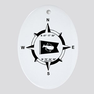 Nantucket MA - Compass Design Ornament (Oval)