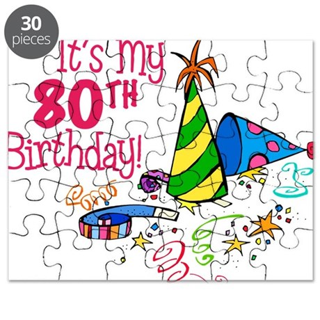 Its My 80th Birthday Party Hats Puzzle