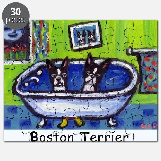 BOSTON TERRIER two in bath de Puzzle