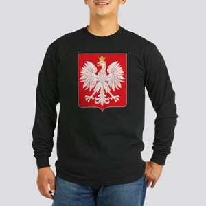 Polish Eagle Red Shield Long Sleeve Dark T-Shirt