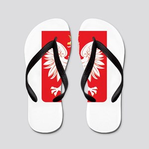 Polish Eagle Red Shield Flip Flops