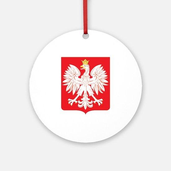 Polish Eagle Red Shield Ornament (Round)
