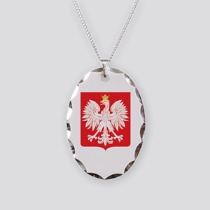 Polish Eagle Red Shield Necklace Oval Charm