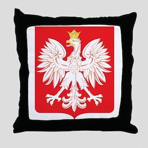 Polish Eagle Red Shield Throw Pillow