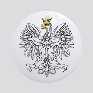Polish Eagle With Gold Crown Ornament (Round)