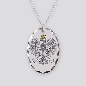 Polish Eagle With Gold Crown Necklace Oval Charm
