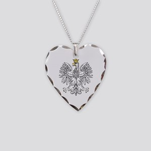 Polish Eagle With Gold Crown Necklace Heart Charm