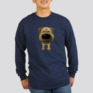 Big Nose Border Terrier Long Sleeve Dark T-Shirt