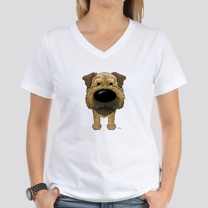 Big Nose Border Terrier Women's V-Neck T-Shirt