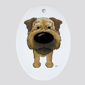 Big Nose Border Terrier Ornament (Oval)