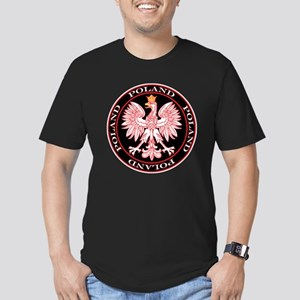 Round Polish Eagle Men's Fitted T-Shirt (dark)