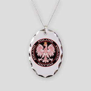 Round Polish Eagle Necklace Oval Charm