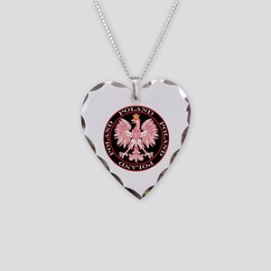 Round Polish Eagle Necklace Heart Charm