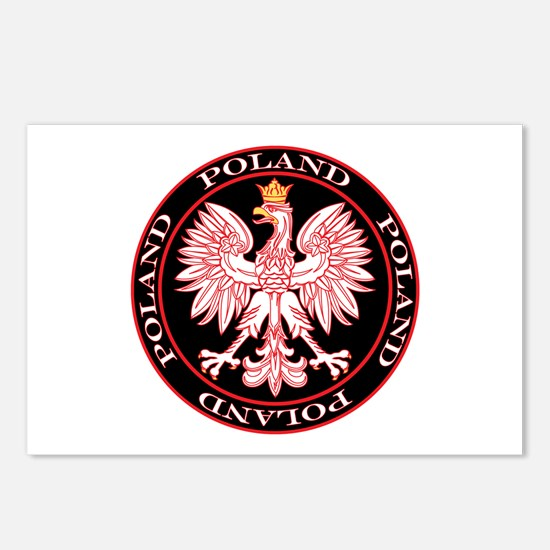 Round Polish Eagle Postcards (Package of 8)