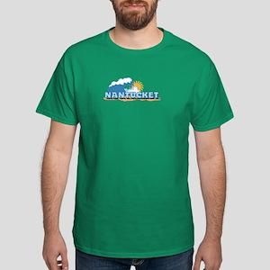 Nantucket MA - Waves Design. Dark T-Shirt