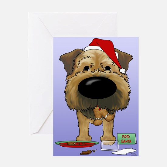 Border Terrier Santa Greeting Card