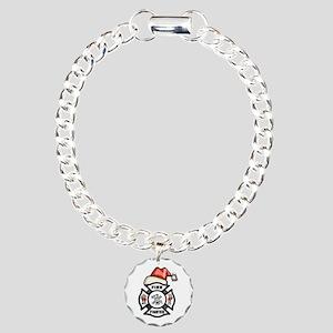 Firefighter Santa Charm Bracelet, One Charm