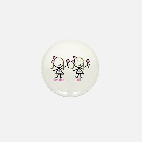 Pink Ribbon: Ali & Jessica Mini Button