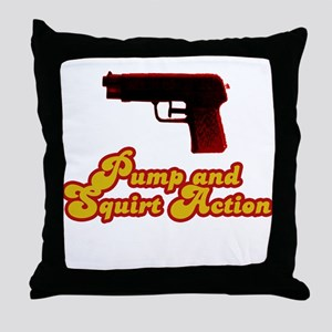 Pump and Squirt Action Throw Pillow