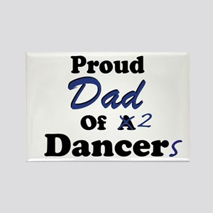 Dad of 2 Dancers Rectangle Magnet