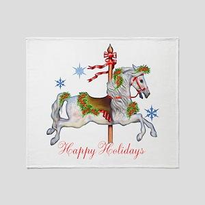Christmas Carousel Throw Blanket