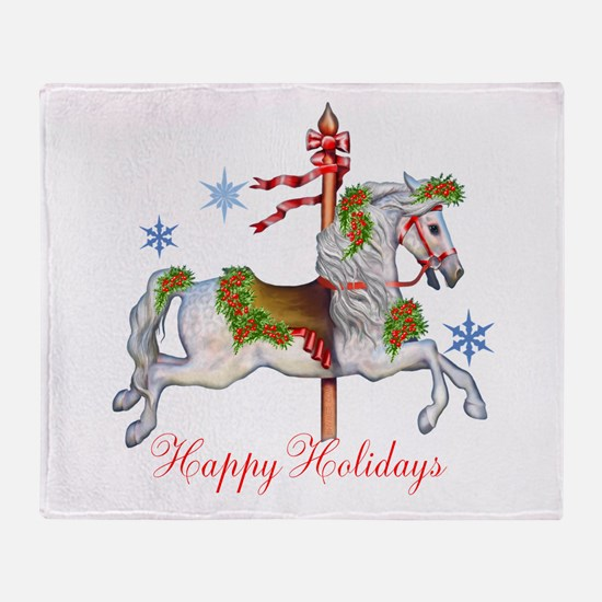Christmas Carousel Throw Blanket